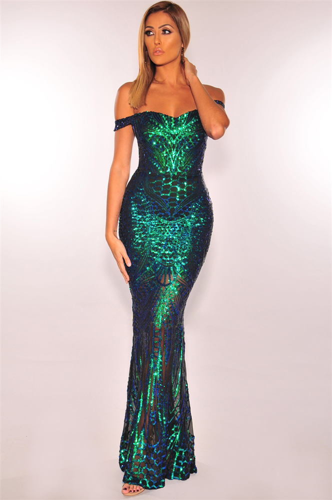 ML23164 Sexy Women Slash Neck Bodycon Sequined Party Dress