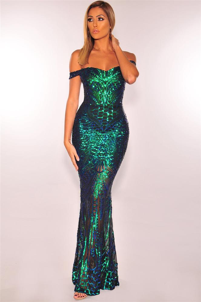 ML23164 Sexy Women Slash Neck Bodycon Sequined Party Dress