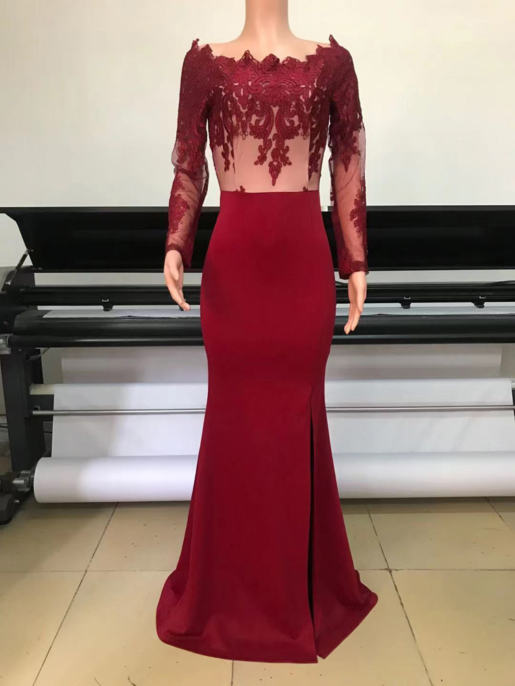 ML23253 Sexy Women Slash neck Bodycon Sequined Split Long Party Dress