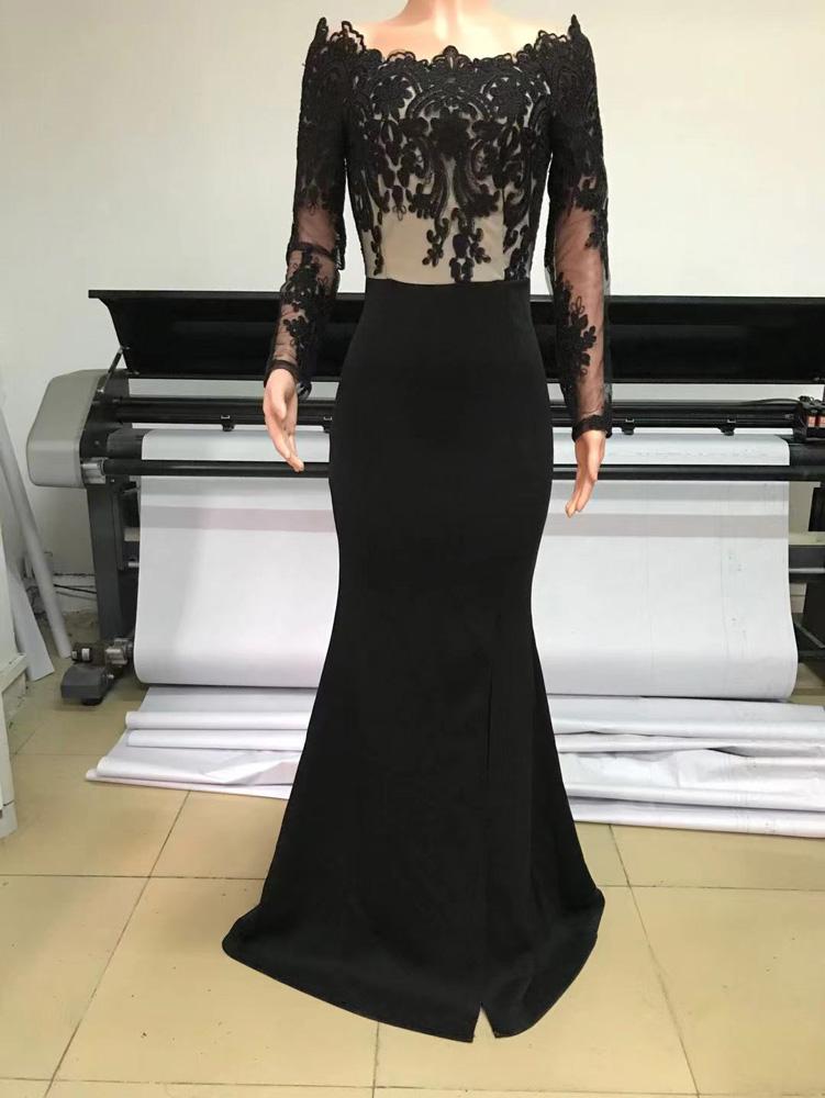 ML23254 Sexy Women Slash neck Bodycon Sequined Split Long Party Dress