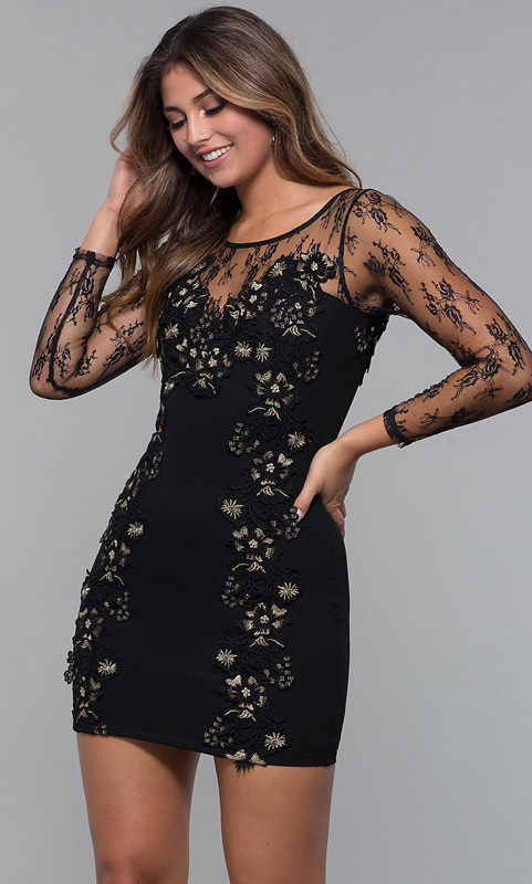 ML23117 Sexy Women O-neck Long Sleeve Bodycon Lace Party Dress