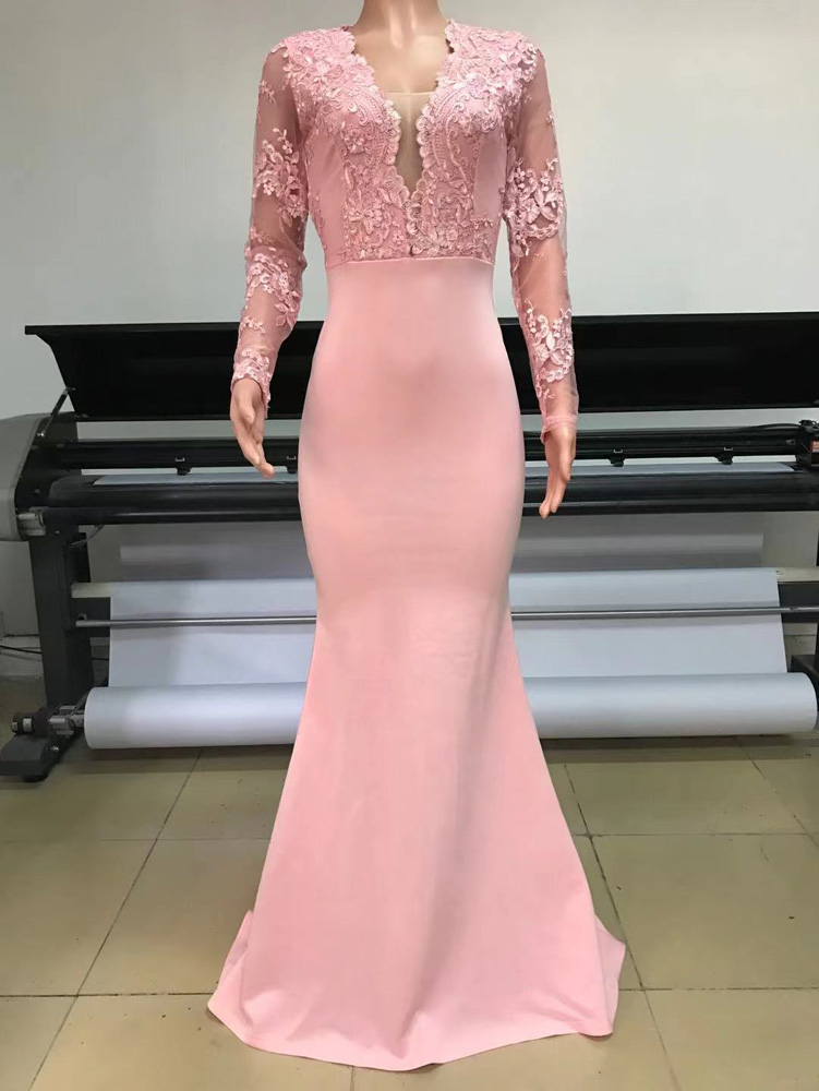 ML23190 Sexy Women V-neck Long Sleeve Bodycon Lace Party Dress