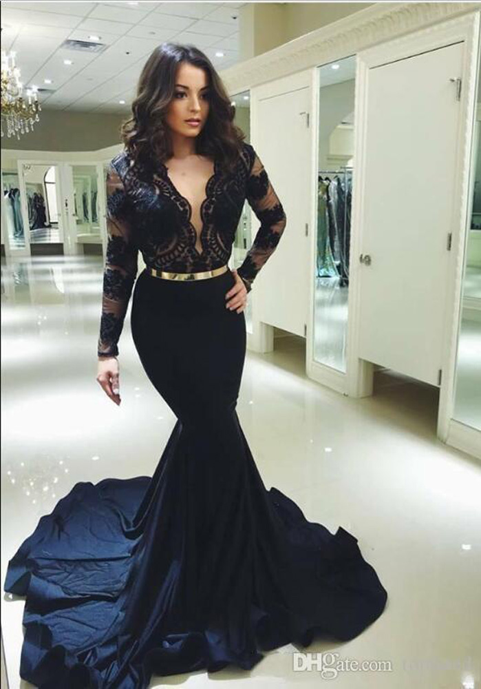 ML23192 Sexy Women V-neck Long Sleeve Bodycon Lace Party Dress