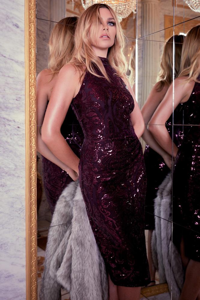 ML23352 Sexy Women O-neck Sleeveless Bodycon Sequined Party Dress