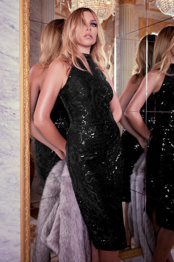 ML23353 Sexy Women O-neck Sleeveless Bodycon Sequined Party Dress