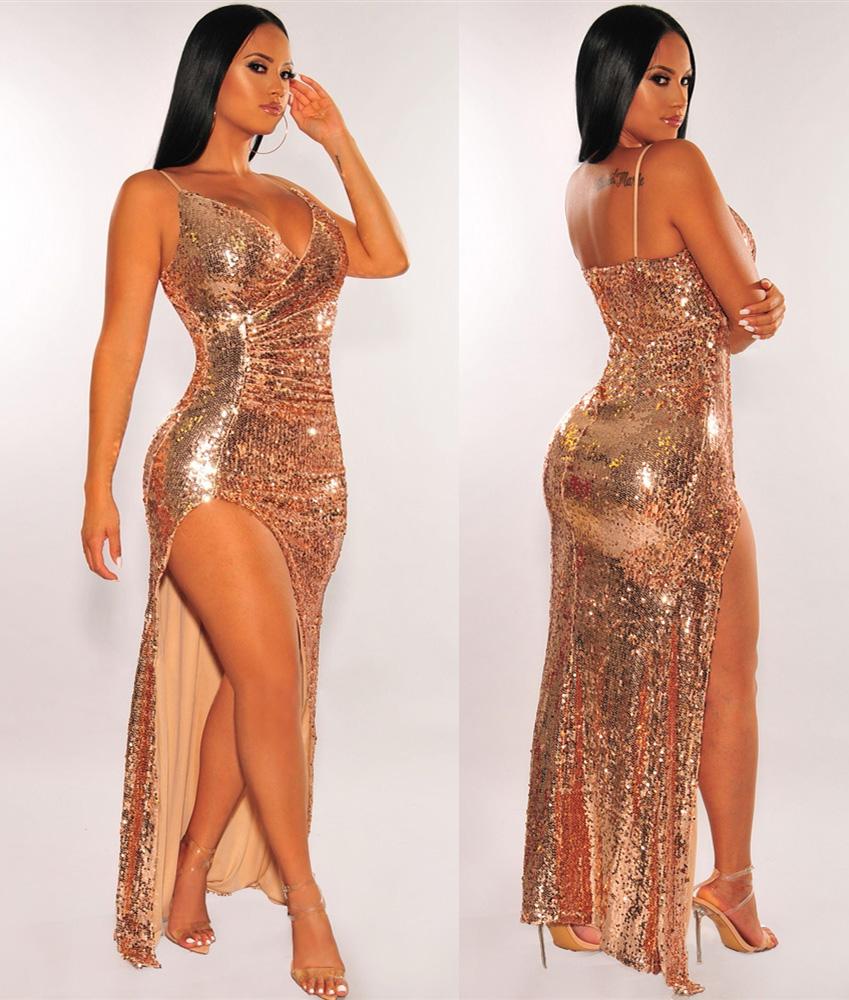 ML23265 Sexy Women Spaghetti Strap Bodycon Sequined Split Dress