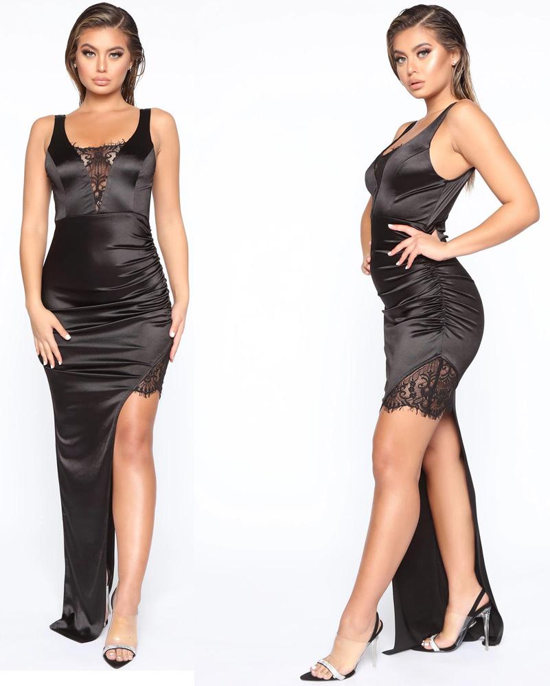 ML23269 Sexy Women O-neck Sleeveless Bodycon Split Dress