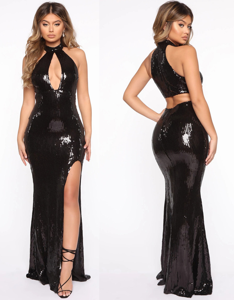 ML23272 Sexy Women O-neck Hollow Out Bodycon Sequined Party Dress