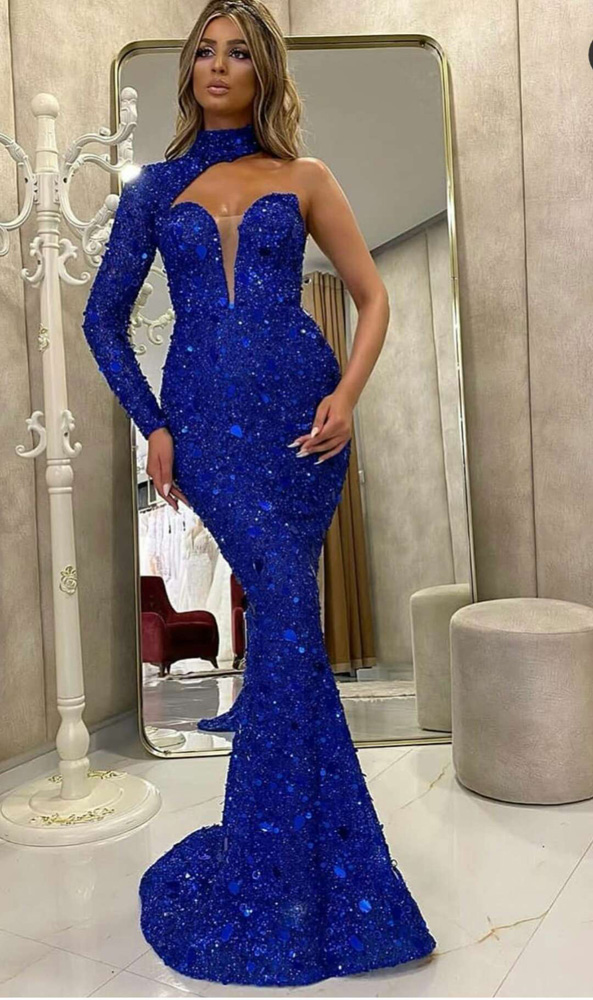 ML23274 Sexy Women O-neck One Shoulder Bodycon Sequined Party Dress