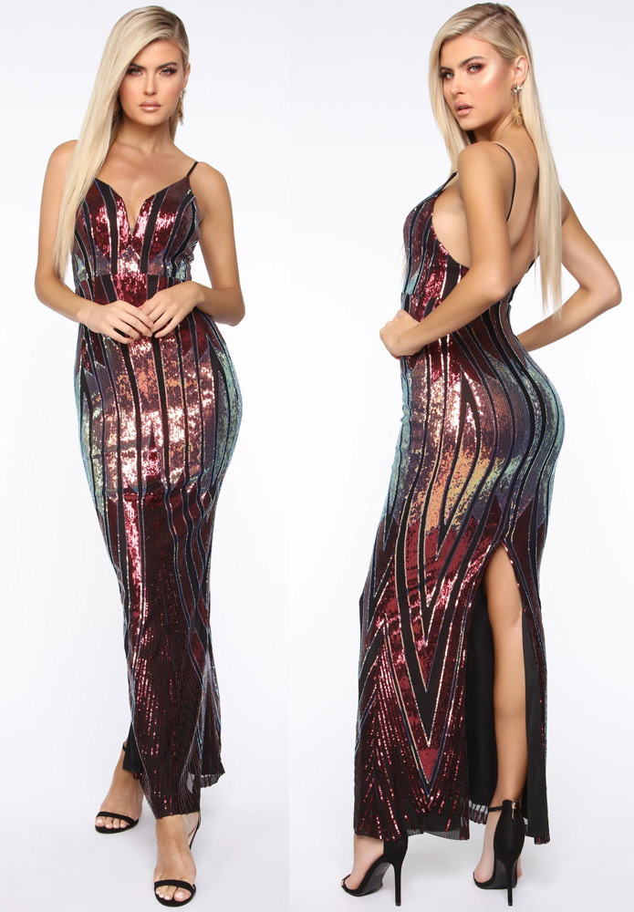 ML23354 Sexy Women Spaghetti Strap Bodycon Sequined Split Party Dress