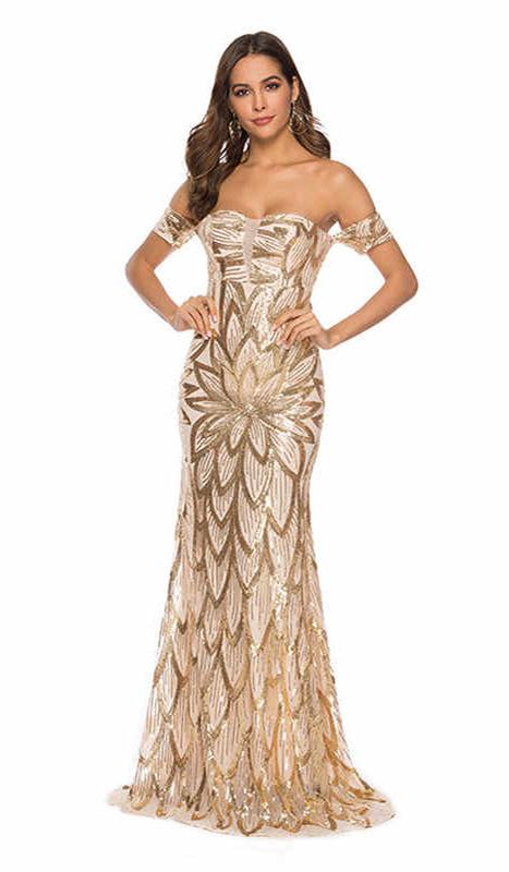 ML23419 Sexy Women Slash Neck Bodycon Sequined Party Dress