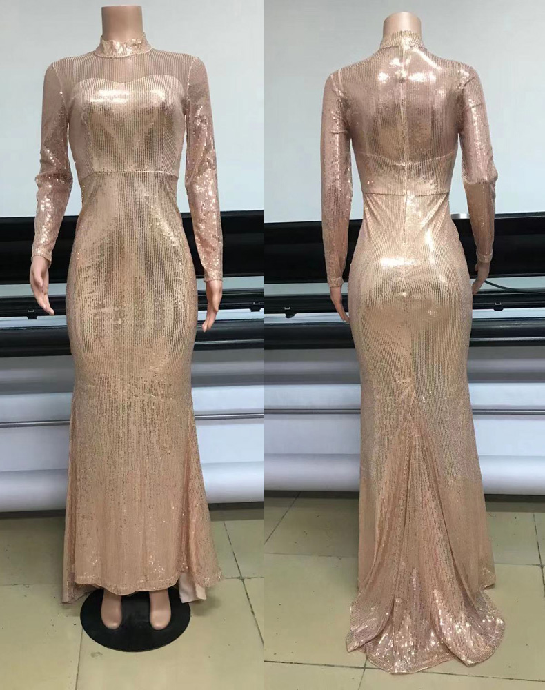 ML23275 Sexy Women O-neck long Sleeve Bodycon Sequined Party Dress