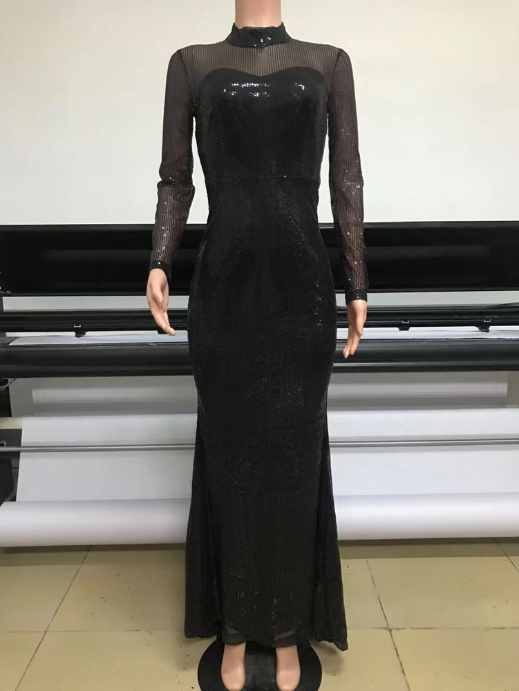 ML23276 Sexy Women O-neck long Sleeve Bodycon Sequined Party Dress