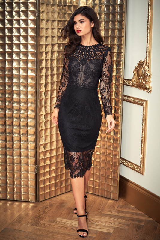ML23422 Sexy Womne O-neck Long Sleeve Bodycon Lace Party Dress