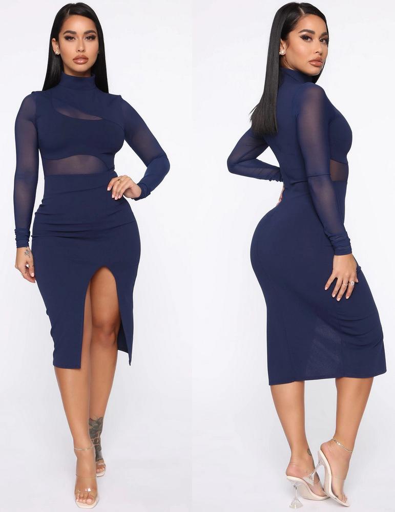 ML22926 Sexy Women O-neck Long Sleeve Bodycon Split Party Dress