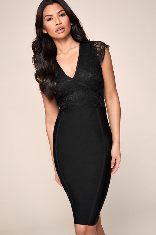 ML23124 Sexy Women V-neck Sleeveless Bodycon Party Dress