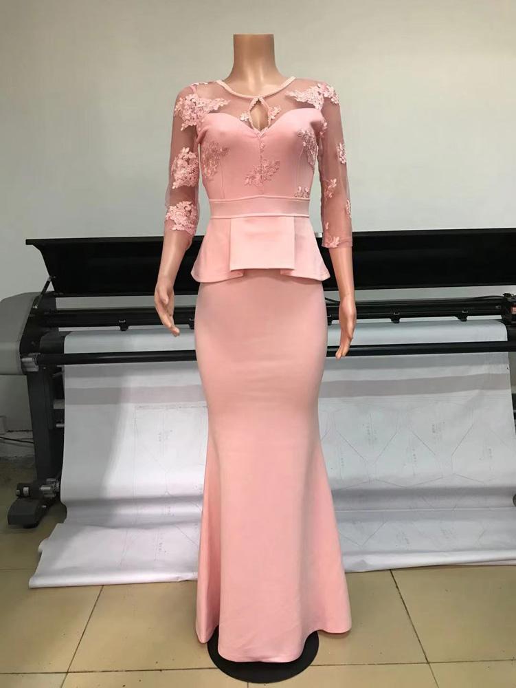 ML23277 Sexy Women O-neck Long Sleeve Bodycon Lace Party Dress