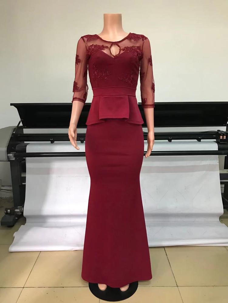 ML23279 Sexy Women O-neck Long Sleeve Bodycon Lace Party Dress