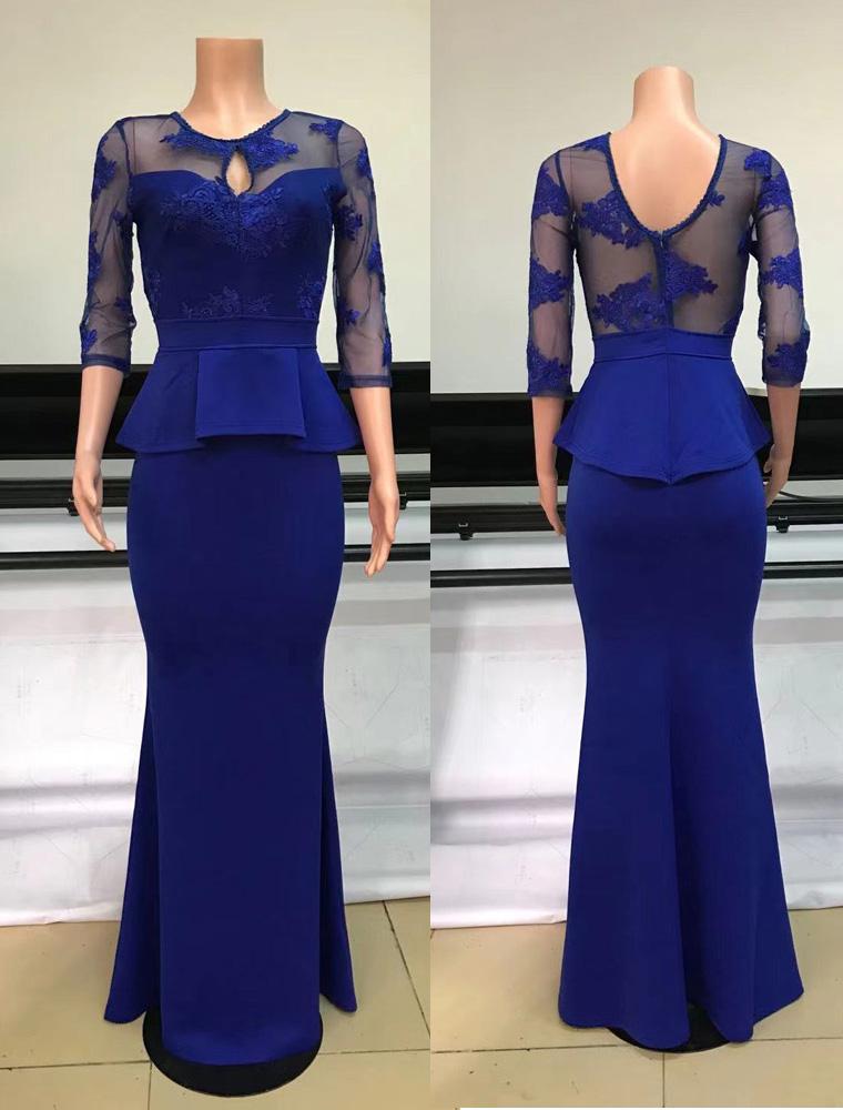 ML23281 Sexy Women O-neck Long Sleeve Bodycon Lace Party Dress
