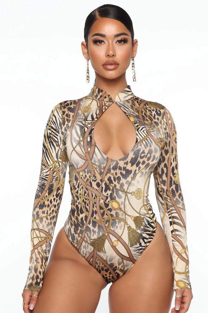 ML22907 Sexy Women O-neck Long Sleeve Bodycon Floral Print Party Bodysuit