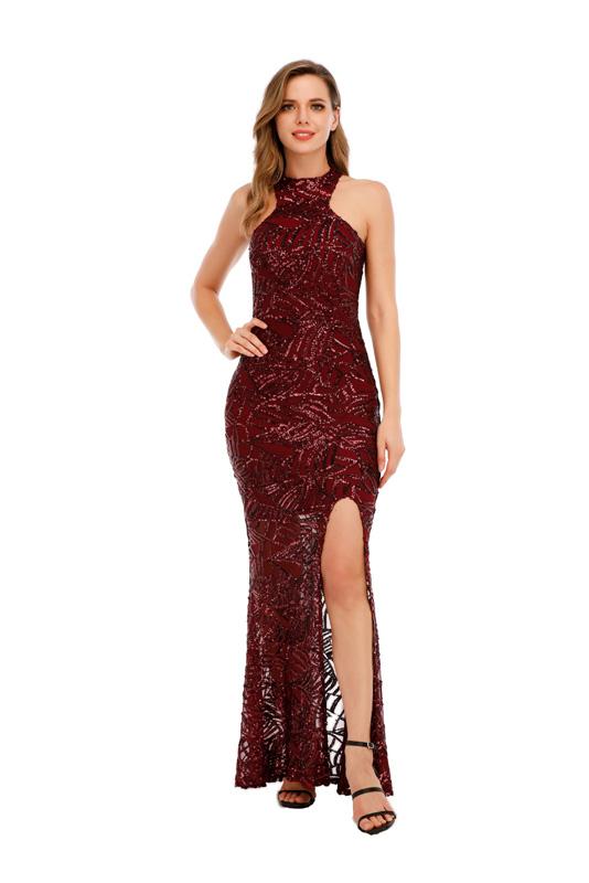 ML23423 Sexy Women O-neck Sleeveless Bodycon Sequined Party Dress