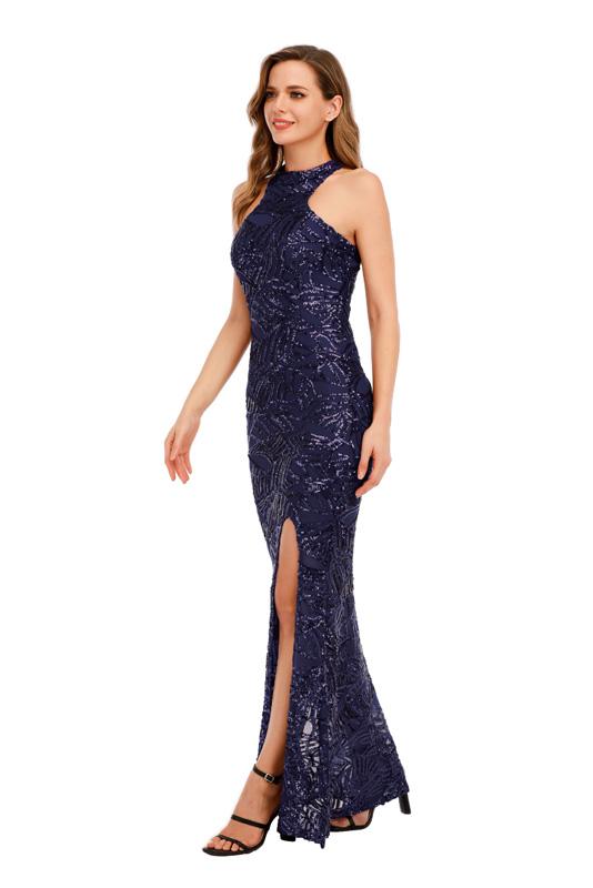 ML23424 Sexy Women O-neck Sleeveless Bodycon Sequined Party Dress