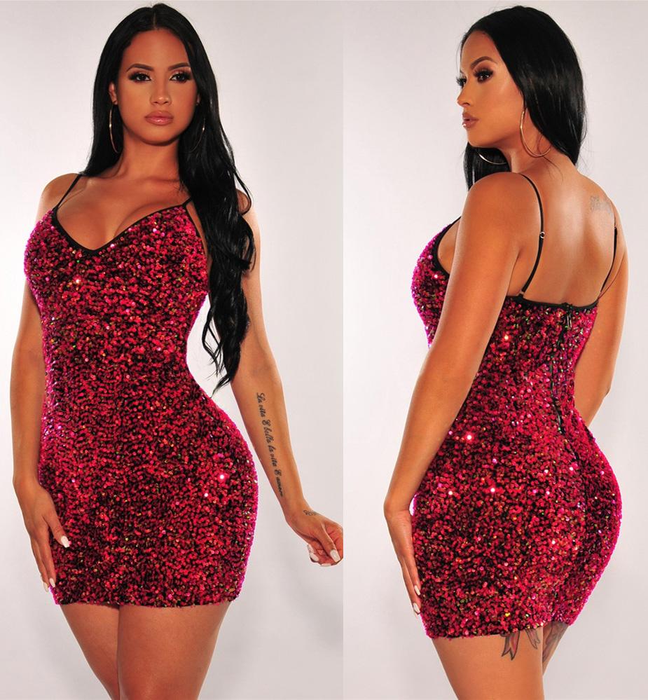 ML22923 Sexu Women Spaghetti Strap Bodycon Sequined Mini Party Dress