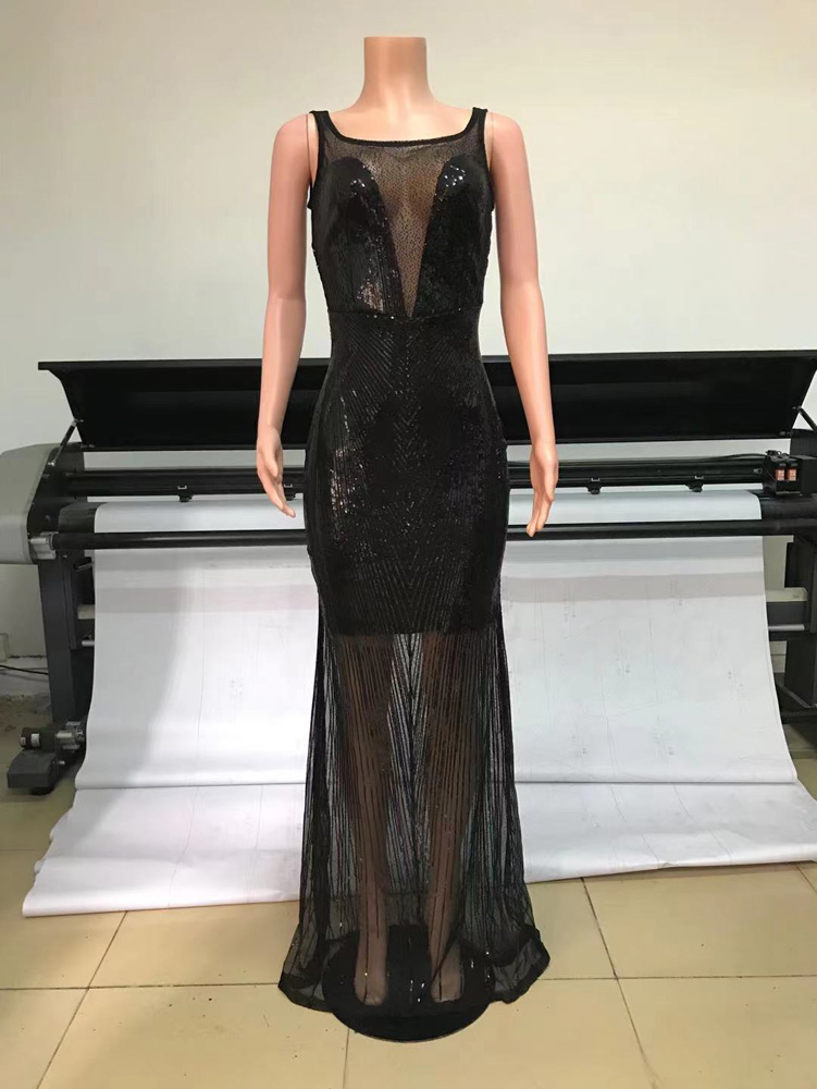 ML23283 Sexy Women O-neck Backless Bodycon Sequined Party Dress