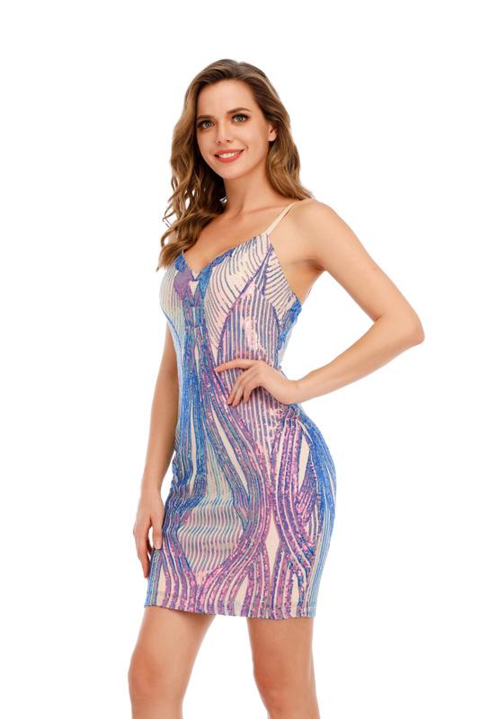 ML23425 Sexy Women Spaghetti Strap Bodycon Sequined Mini Party Dress