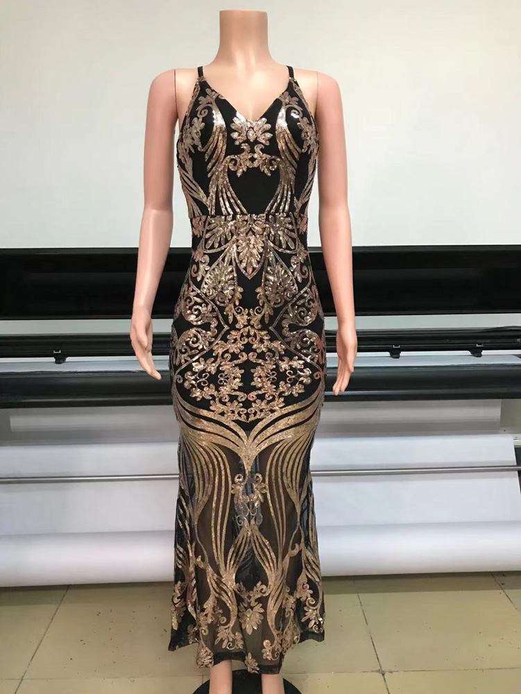 ML23285 Sexy Women O-neck Backless Bodycon Sequined Party Dress