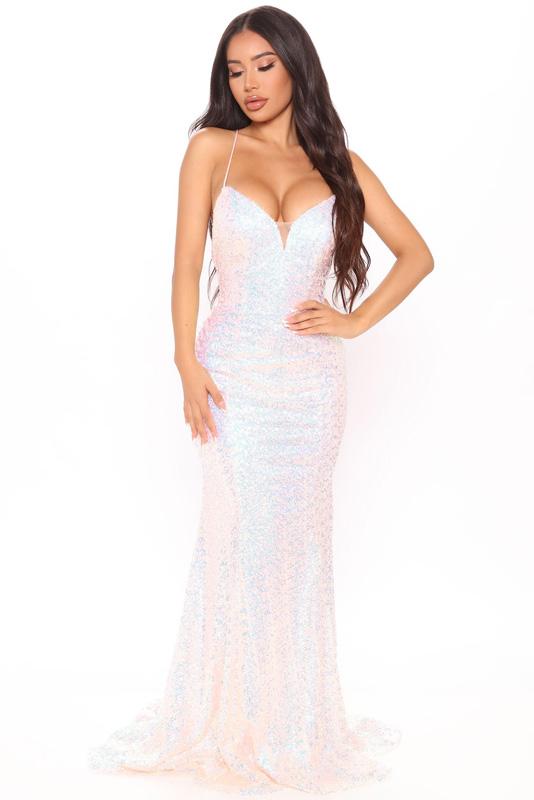 ML23428 Sexy Women Spaghetti Strap Bodycon Sequined Party Dress