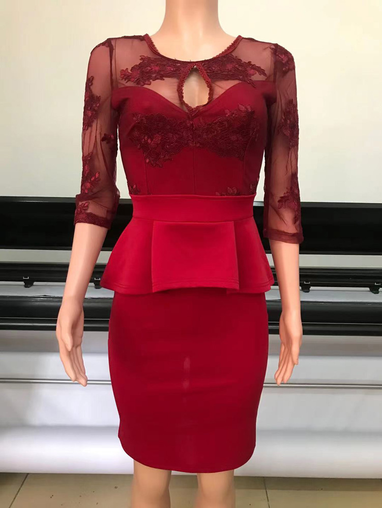 ML23286 Sexy Women O-neck Bodycon Lace Peplum Dress
