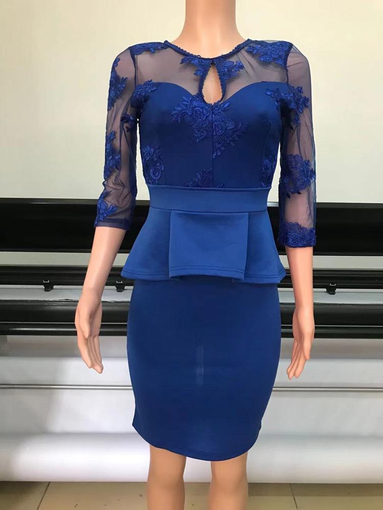ML23288 Sexy Women O-neck Bodycon Lace Peplum Dress