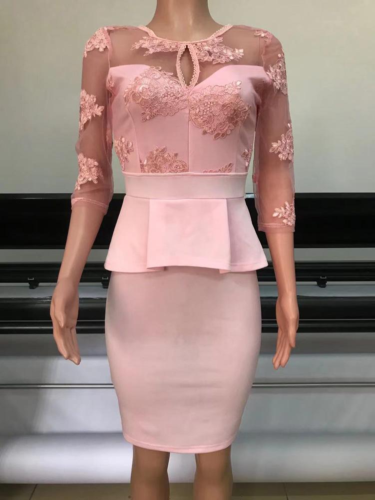 ML23291 Sexy Women O-neck Bodycon Lace Peplum Dress