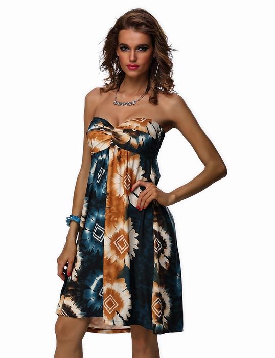 ML18440 Bohemian Fashion Short Strapless Dress For Summer