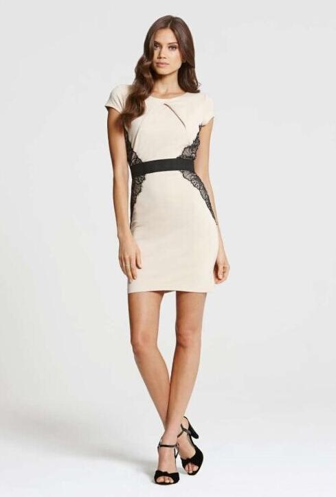 ML18617 Ladies Short Sleeves Mini Bodycon Dress