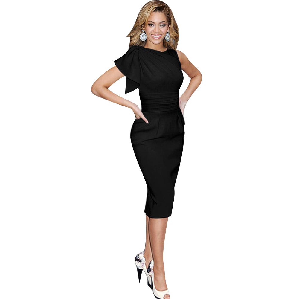 ML18666 Black Elegant Women Bodycon Work Dresses