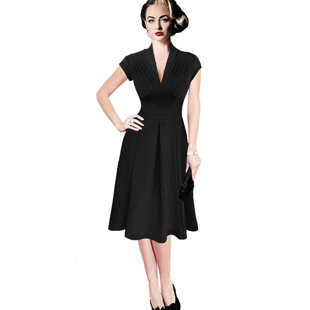ML18673 Sexy V Neck Pleated Black Dress