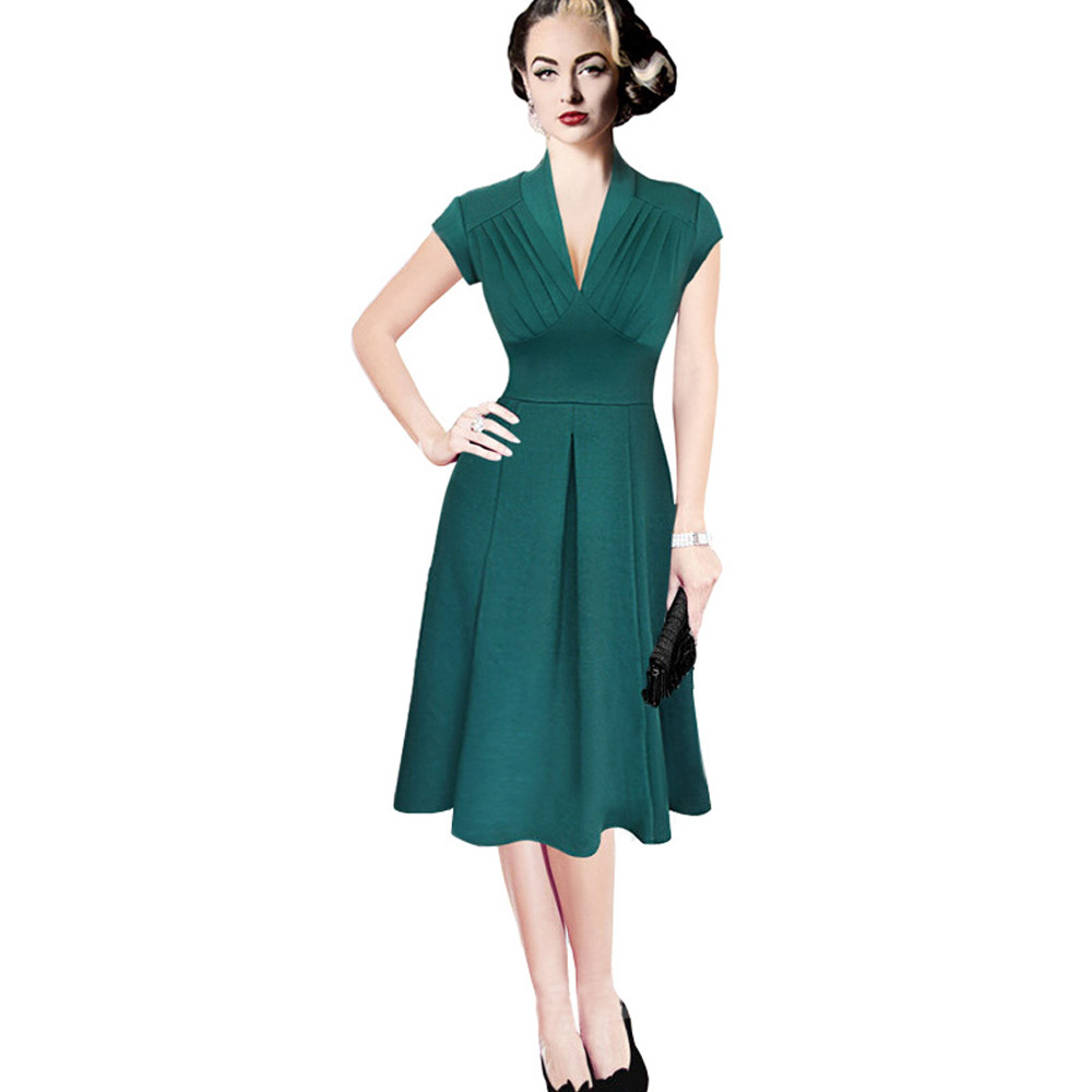ML18675 Green Color V Neck Sexy Lady Dresses