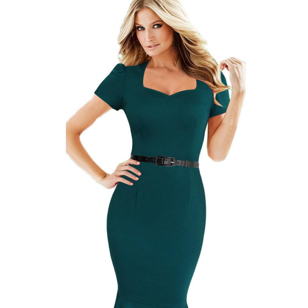 ML18694 Short Sleeves Knee Length Elegant Women Dresses