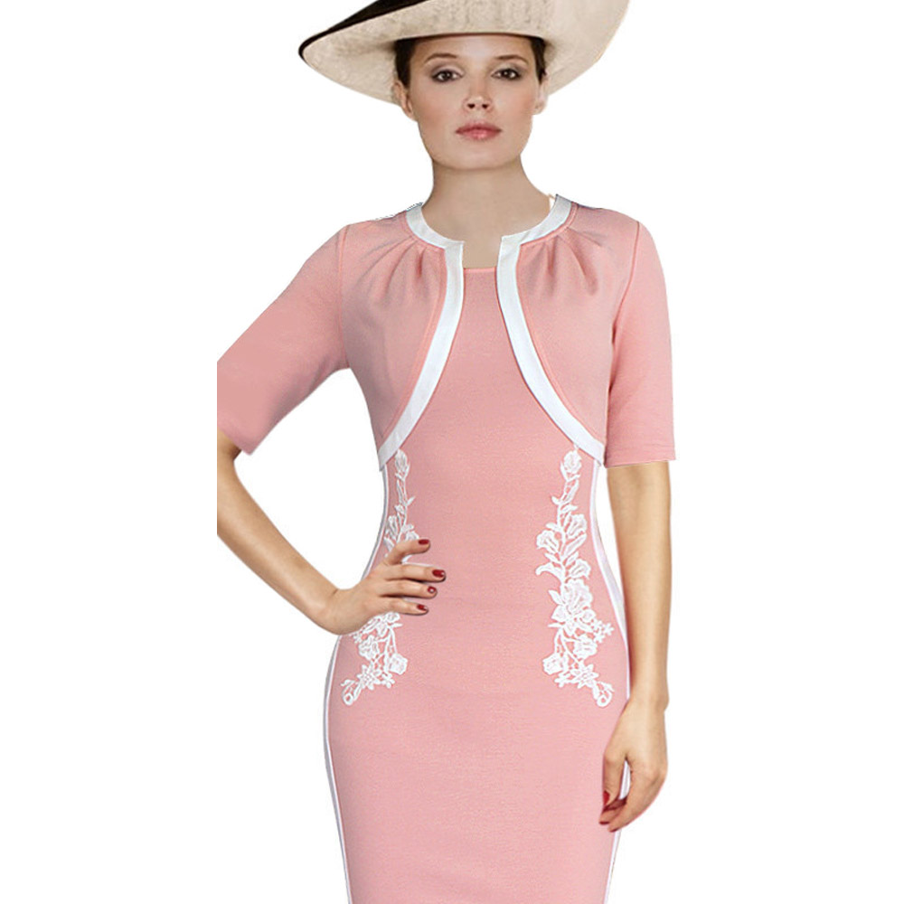 ML18695 Pink Color Lady Fashion Party Dress