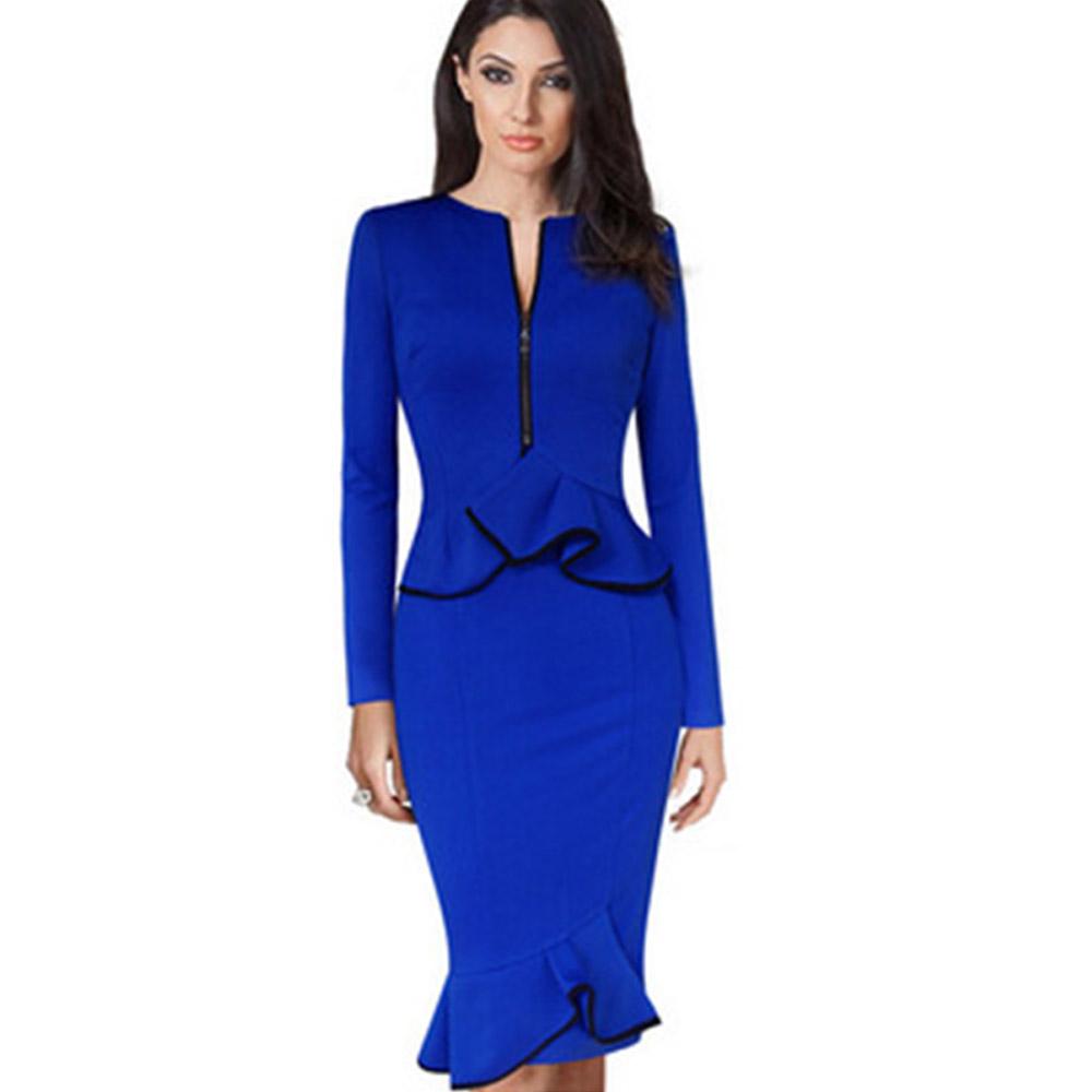 ML18730 Elegant Lady Sexy Blue Dress