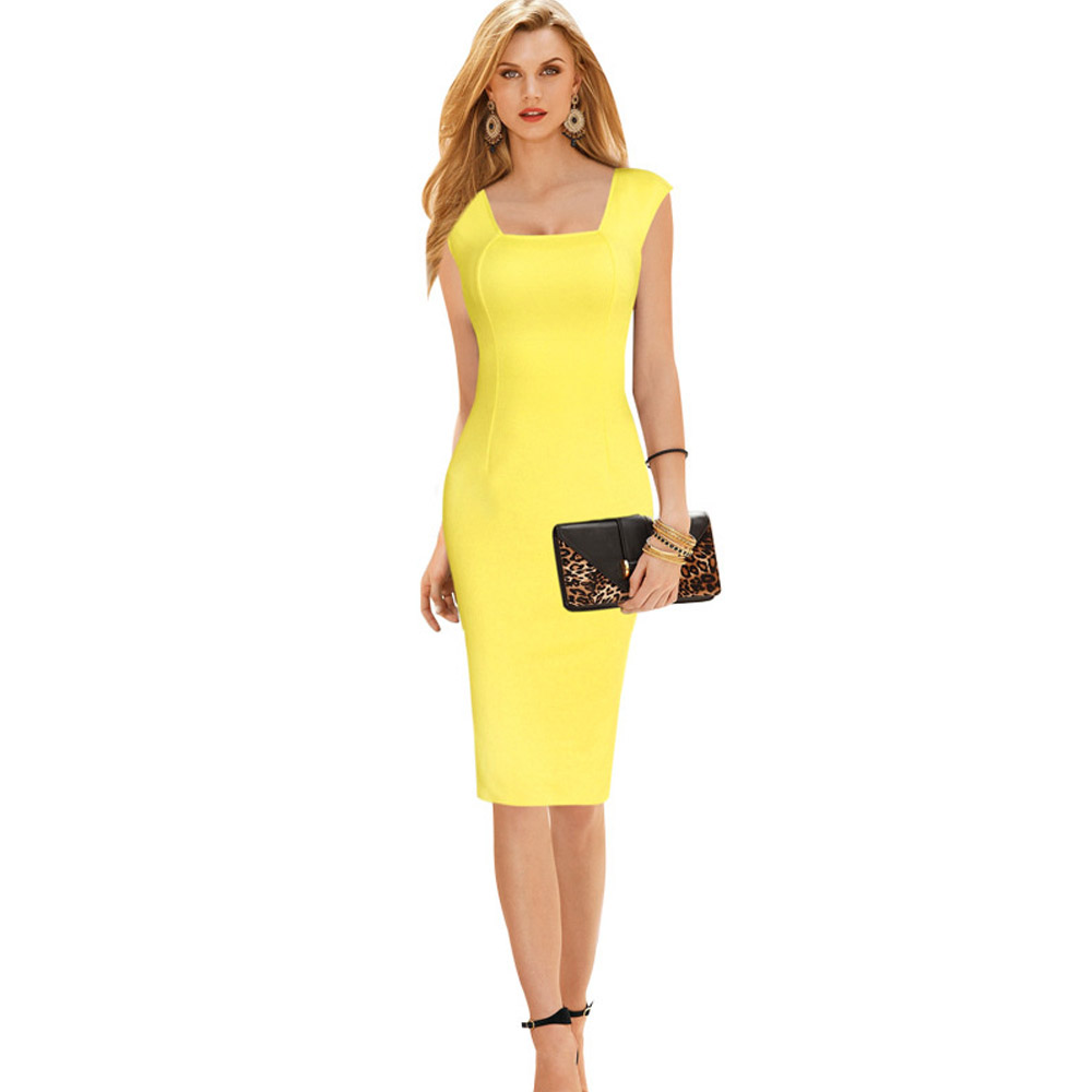 ML18748 Sexy Yellow Pencil Design Sundress