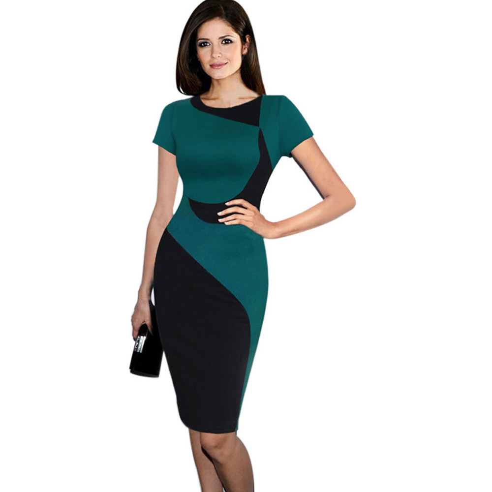 ML18756 Lady Short Sleeves Bandage Knee Length Dresses