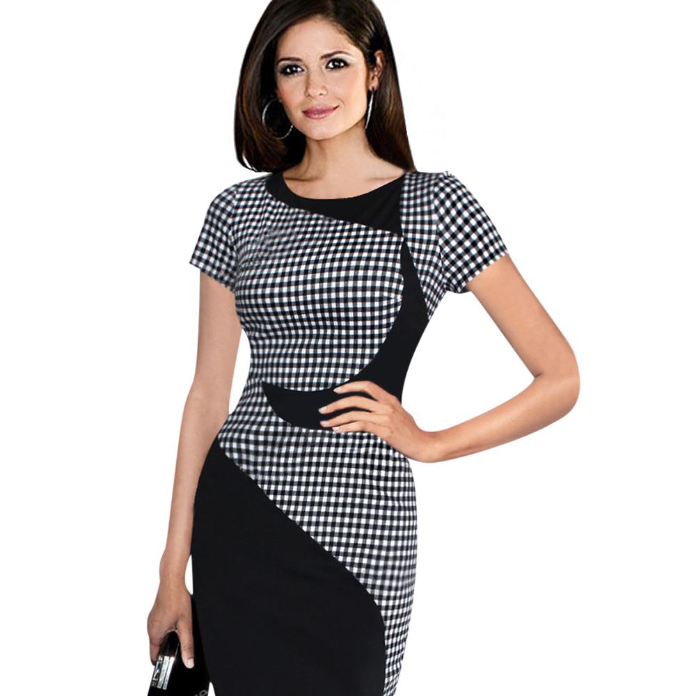 ML18757 Knee Length Work Lady Bodycon Dress