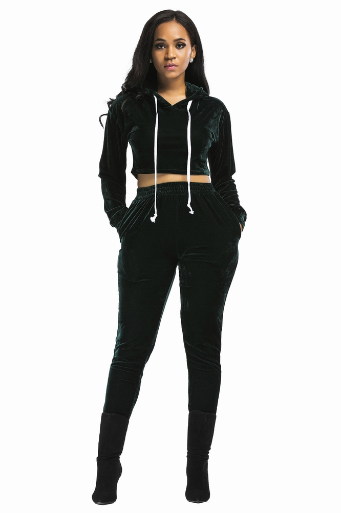 ML19947 Tops And Elastic Waist Pants Bodycon Slim Sweatsuit