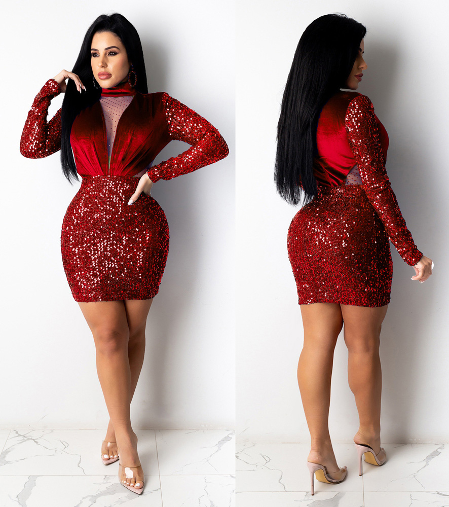 ML22896 Sexy Women O-neck Long Sleeve Bodycon Sequined Party Dress