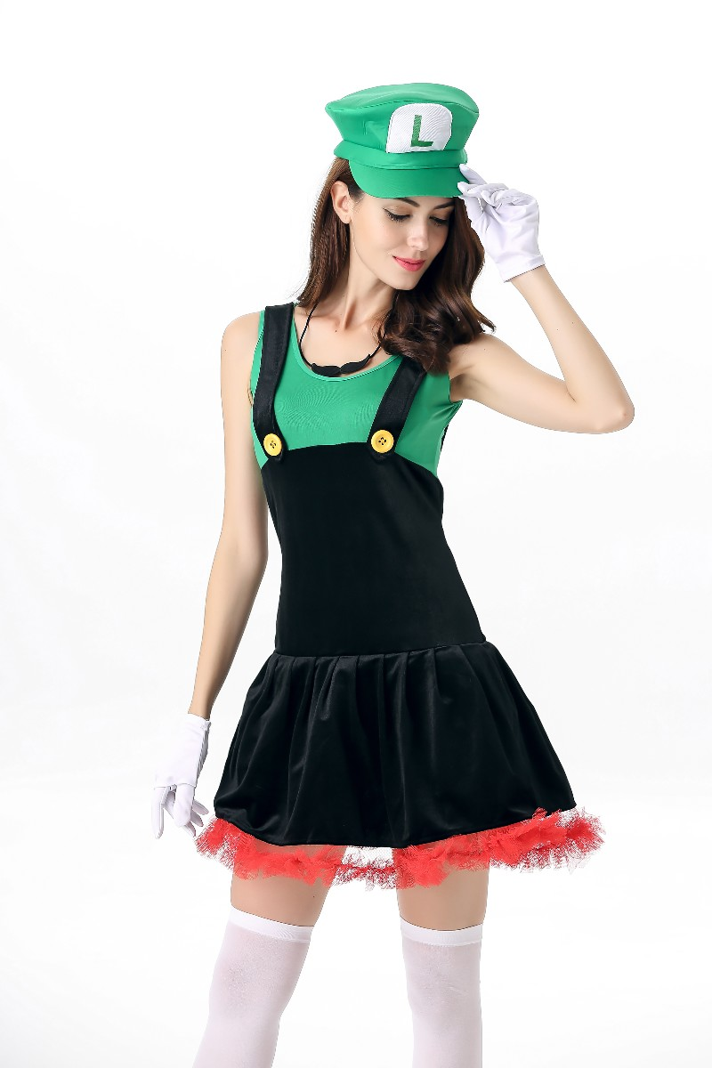 ML5566 Cute Mario Bros Green Dress Costume