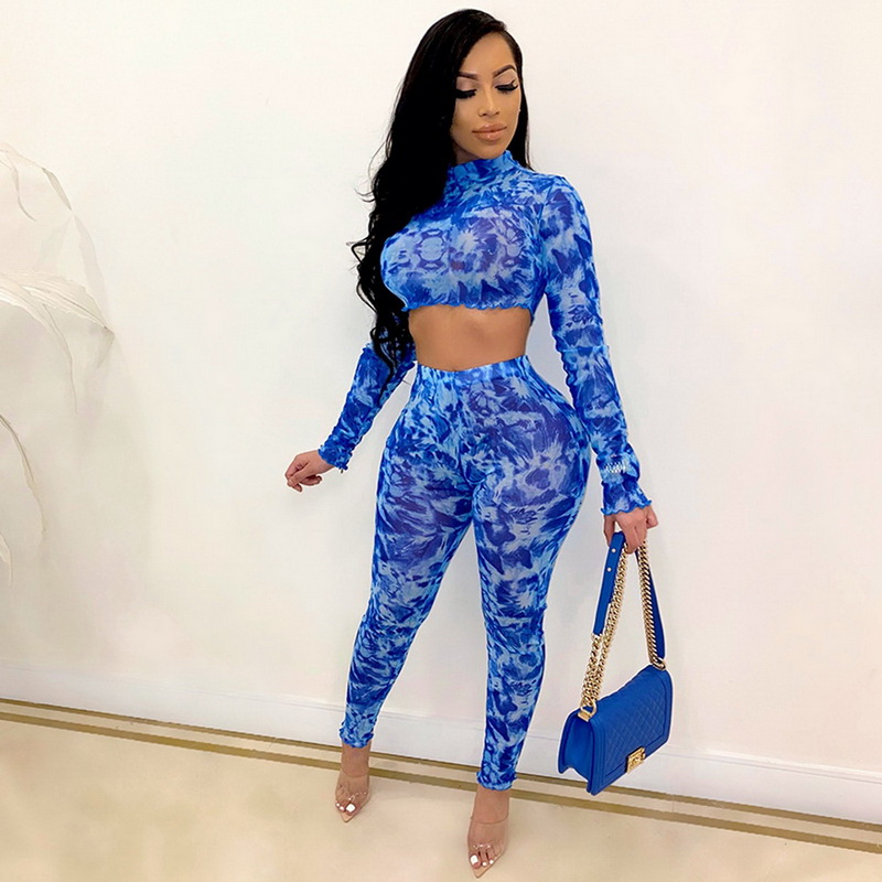 ML22386 Sexy Women O-neck Long Sleeve Two Pieces Summer Cloth Set Crop Top+Pants