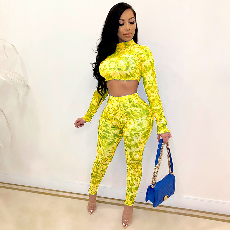 ML22388 Sexy Women O-neck Long Sleeve Two Pieces Summer Cloth Set Crop Top+Pants